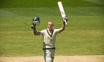 MELBOURNE, AUSTRALIA - DECEMBER 29:  Chris Rogers of Australia celebrates as he reaches his century during day four of the Fourth Ashes Test Match between Australia and England at Melbourne Cricket Ground on December 29, 2013 in Melbourne, Australia.  (Photo by Scott Barbour/Getty Images)
