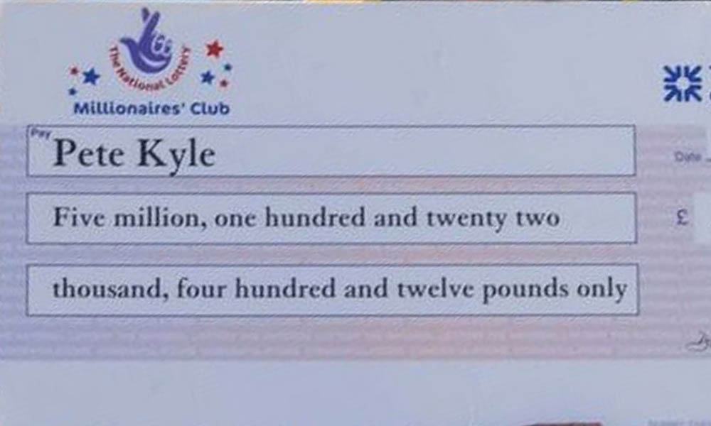 Pete Kyle's lottery cheque